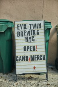 Evil Twin Brewing NYC sign.
