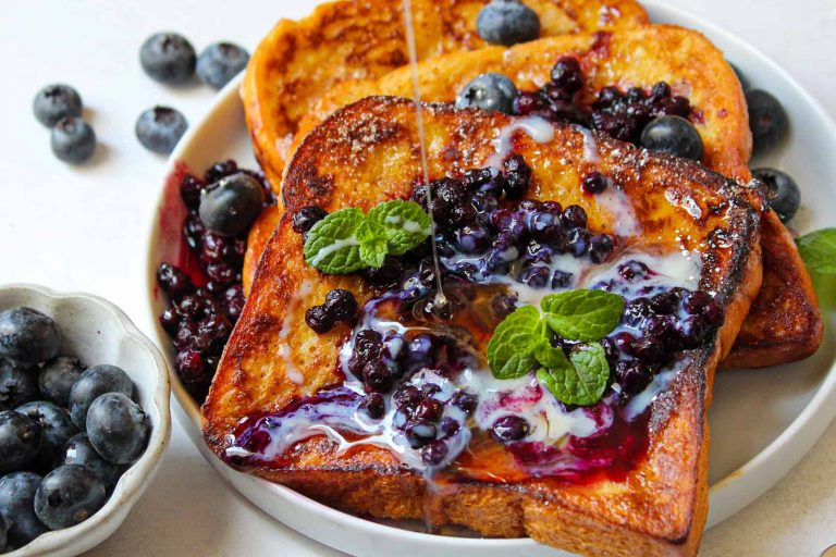 Cinnamon French Toast with Blueberry Brew Compote
