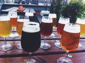 Craft beer outdoors at brewery