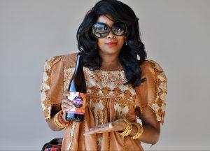 Woman with Venus beer.