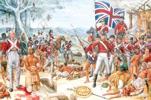 Historic image of British colonizers in Sri Lanka.